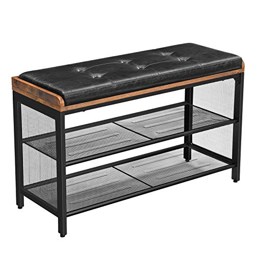 VASAGLE Storage Chests, Shoe Bench, Padded Storage Bench with Mesh Shelf, Shoe Rack, Metal Frame, Easy Assembly, Space Saving, Industrial, Black Imitation Leather, Hallway ULBS75X