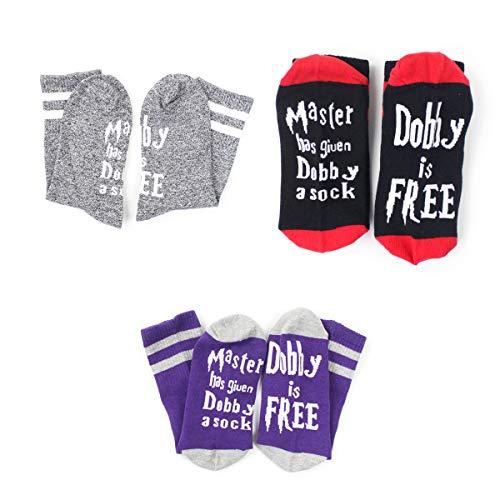 Kylewo Unisex Neuheit Socken Funny Satz Dobby Master Has Given Dobby a Sock, Dobby is Free Socken Damen Herren knöchel Baumwoll socken