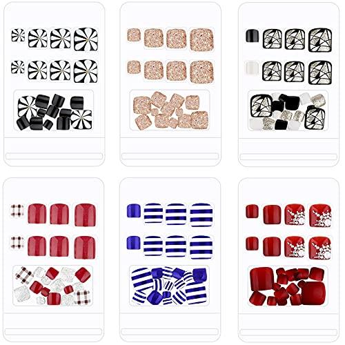 144 Uñas Postizas de Pies Uñas Falsas Cuadradas Cortas de Pies Uñas Artificiales de Pies de Prensa de Cubierta Completa Puntas de Uñas de Pies Brillante para Mujeres Niñas