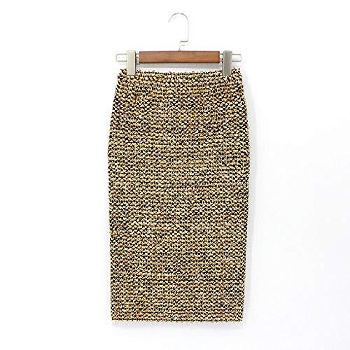 Nobrand Faldas de Mujer Falda Larga de lápiz Saia Becerro Dorado con Cintura Alta con Lentejuelas Elasticidad Falda de Abrigo Sexy