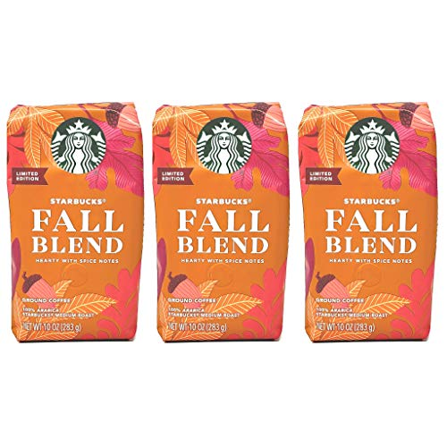 Starbucks 2020 Fall Blend Ground Coffee - Pack of 3 Bags - 10 oz Per Bag - 100% Arabica Starbuck's Medium Roast