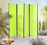 IMC Paravent 4-teilig hellgrün Raumteiler Trennwand Sichtschutz, faltbar/flexibel verstellbar, wetterfester Polyester-Stoff, Schwarze Metallstangen