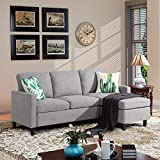 Walsunny Convertible Sectional Sofa Couch with Reversible Chaise, L-Shaped Couch with Modern Linen Fabric for Small Space(Light Grey)