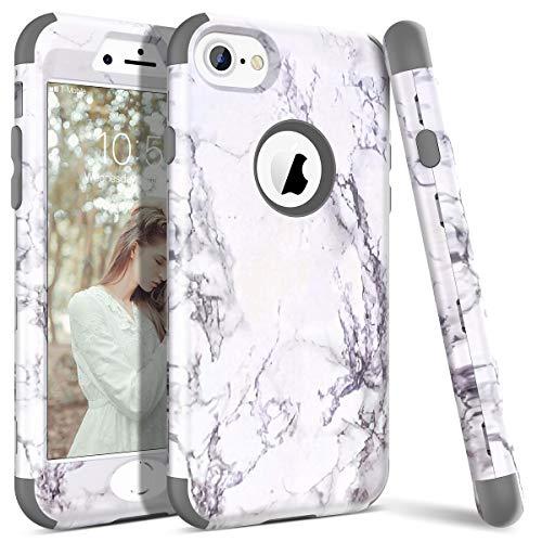 WE LOVE CASE iPhone 7 Cover Marmo 360-Grad all Inclusive Custodia Grigio Cassa Duro del PC di Plastica e Silicone Protezione Shock Proof Anti Graffio Caso per Apple iPhone 7 / iPhone 8 4,7'