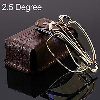 DSLSM + 2.50 D、ケース&クレンジングクロス付き折りたたみ式アンチブルーレイ老眼鏡