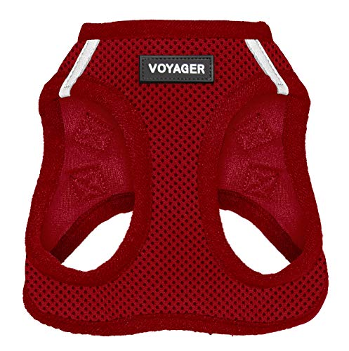 "Voyager Step-in Air Dog Harness - All Weather Mesh, Step in Vest Harness for Small and Medium Dogs by Best Pet Supplies, Red (Matching Trim), L (Chest: 18-21"") (207-RDW-L)"