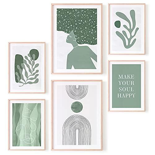 Ohbimba – Laminas para Cuadros Modernos Posters (SIN MARCO) de Pared para Decoración Salón, Cuadros Variados Habitación Dormitorio Salon – Imágenes Estilo Matisse - Tamaño A3 y A4 (Verde)