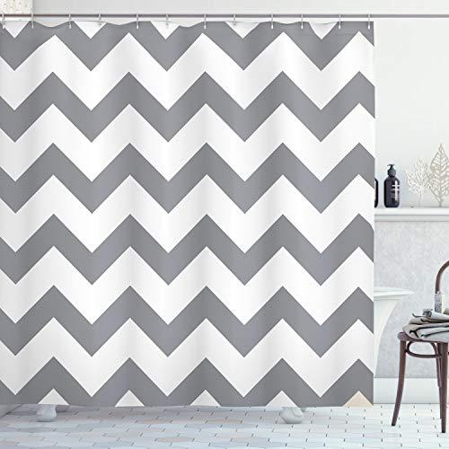 ABAKUHAUS Grau Duschvorhang, Geometrische Zickzack-Streifen, mit 12 Ringe Set Wasserdicht Stielvoll Modern Farbfest & Schimmel Resistent, 175 x 200 cm, Grau Weiß