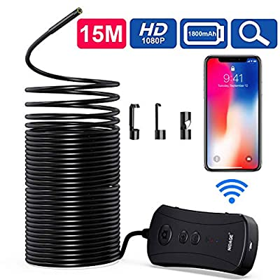 50FT Wireless Endoscope Camera, NIDAGE 2MP HD WiFi Borescope Pipe Drain Swer IP67 Waterproof Inspection Camera Semi-Rigid Snake Camera for Android, iPhone, iPad, Tablet