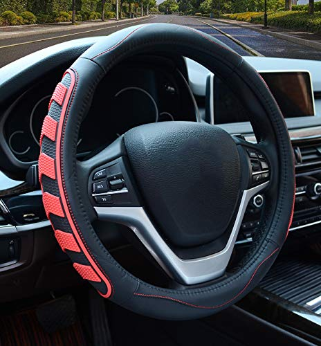 Car Steering Wheel Cover with Durable PU Leather, Universal 15 inch Fit for Car Truck SUV, Breathable Anti Slip Auto Steering Wheel Covers for Men and Women, Red
