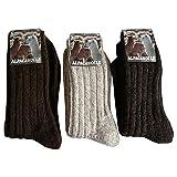 3 Paar Alpaka und Wolle Socken 100prozent extra dick weich Grob gestrickt, Braun Natur Mischung, 43/46