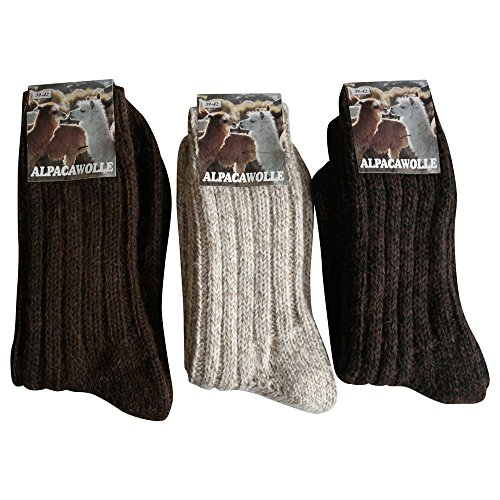 3 Paar Alpaka & Wolle Socken 100% extra dick weich Grob gestrickt, Braun Natur Mischung, 43/46