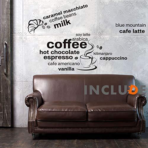 ウォールステッカー コーヒーカップ ティータイム 温かいコーヒー クロワッサン カフェ エスプレッソ ミルク ヴァニラ ラテ カプチーノ キャラメル キリマンジャロ