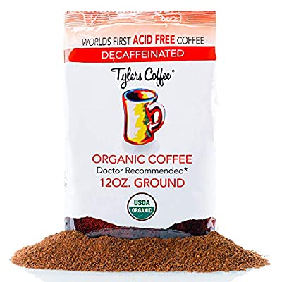 Acid-Free Organic Tyler's Coffee - 100% Arabica Full Flavor & Neutral pH - Gentle on Stomach - No Bitter Aftertaste - Reduce Acid Reflux - Ideal for Acid-Free Diets - 12 oz