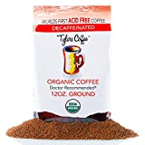 Tyler's No Acid Organic Ground Coffee - 100% Arabica Full Flavor Decaf - Neutral pH - No Bitter Aftertaste - Gentle on Digestion, Reduce Acid Reflux - Protect Teeth Enamel - For No Acid Diets - 12 oz