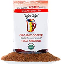 Tyler's No Acid Organic Ground Coffee - 100% Arabica Full Flavor Decaf - Neutral pH - No Bitter Aftertaste - Gentle on Digestion, Reduce Acid Reflux - Protect Teeth Enamel - For No Acid Diets - 12 oz