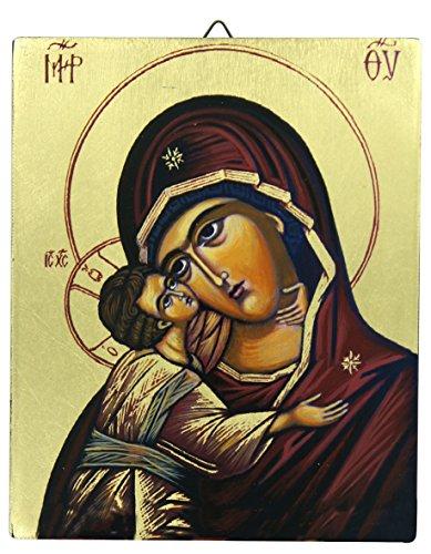 Ferrari & Arrighetti Icono Virgen de la Ternura de Vladimir Pintado sobre Madera - 13 x 16 cm