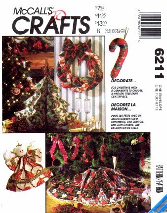 McCall's 6211 Crafts Sewing Pattern Christmas Ornaments Centerpiece Tree Skirt