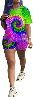 Womens 2 Piece Shorts Set - Club Outfits Tie Dye Print Short Sleeve T-Shirts Bodycon Shorts Set Jumpsuit Rompers