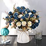 Artificial Rose Bouquets and Ceramic vases, Fake Silk Roses, Suitable for Wedding, Dining Table, Office, Party and Home Decoration(Blue