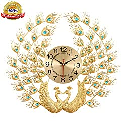 Peacock Clock Pendant Wrought Iron Exquisite Rhinestone Wall Clock