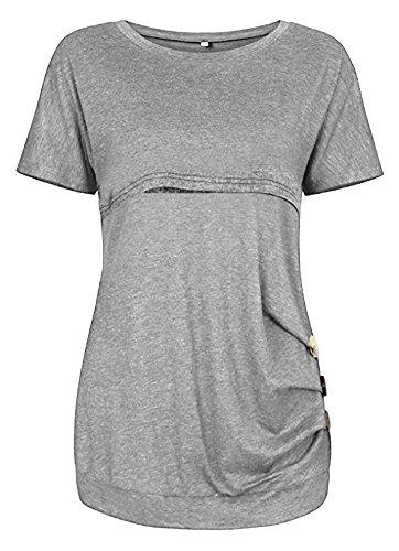 Women Breastfeeding Nursing Tops Button Side Short Sleeve Maternity Shirt (Light...