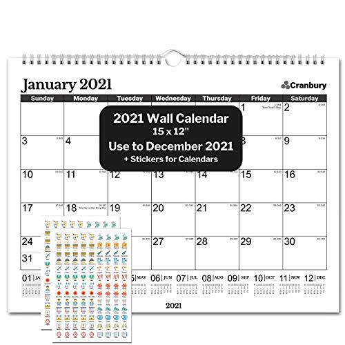 "CRANBURY Wall Calendar 2021 15x12"" - (Black), Wall Calendar 2021, Use Now to December 2021, for Full Calendar Year 2021, Include Cute Planner Stickers"