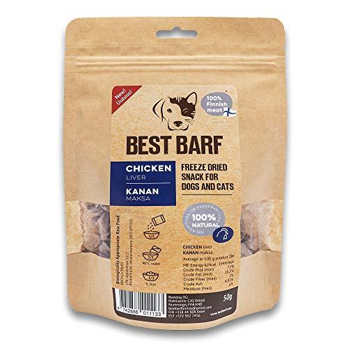 BEST BARF Gefriergetrocknete Hundeleckerlies aus Hünchenleber 100% Einzelzutat Natürliche Hundeleckerli Getreidefreie Rohe Trainingsleckerlies für Hunde und Katzen