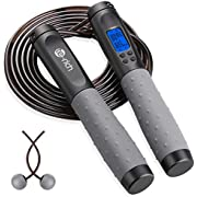 Te-Rich Jump Rope, Weighted Jump Rope for Fitness, Skipping Rope with Counter - Heavy Handles, Adjustable Length - Cordless Jumping Rope for Men Women Kids Fitness Exercise Training