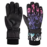 HighLoong Kids Waterproof Ski Snowboard Cold Weather Winter Gloves 5-Finger with 3M Thinsulate for Boys Girls (8/9)