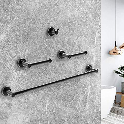 Mokyu - Juego de accesorios de baño (acero inoxidable, 4 unidades), color negro