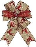 Milo&Bata 6 Moños Decorativos para Árbol de Navidad, Decoración Casa, Adornos Navideños (Reno Rojo)