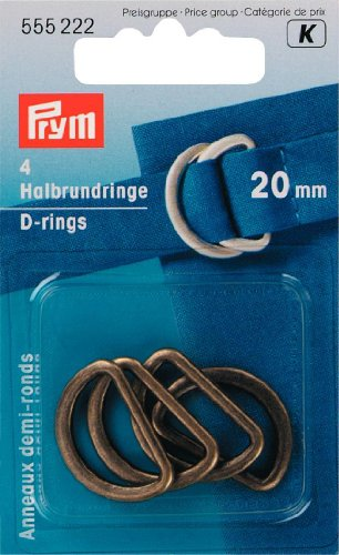 Prym D-Rings, 20mm, Antique Brass