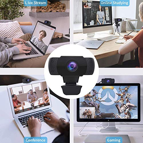 Wansview 1080P HD USB Webcam with Dual Microphone & Auto Light Correction, Compatible with Desktop Computer, Laptop and TV, Plug and Play Web Cam for Video Streaming, Conference, Gaming and Study