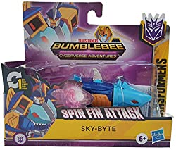 10.5-CM SKY-BYTE FIGURE: 10.5-cm 1-Step Changer Sky-Byte Action Attackers figure inspired by the Cyberverse Adventures animated series. REPEATABLE ATTACK MOVE: convert this Sky-Byte figure to reveal his signature Spin Fin Attack Action Attack move. T...