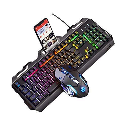 ELXSZJ XTZJ Gaming-Tastatur- und Maus-Combo, 3 Farben veränderbare Backlit-Mechanische Gefühl-Tastatur mit 4 Farben Atem-LED-Hintergrundbeleuchtung Maus für PC-Laptop-Computer-Spiel und Arbeit