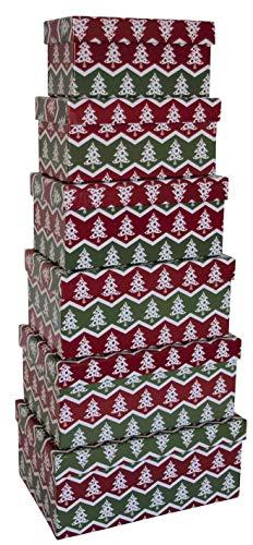0 41746 Weihnachtsgeschenkkarton Bäumchen - 6 tlg, rechteckig
