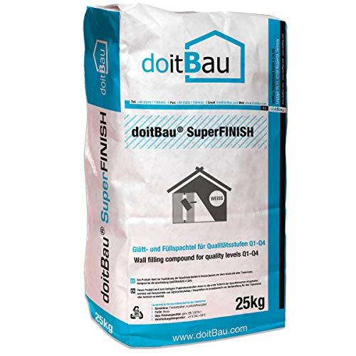doitBau SuperFINISH Gipsspachtelmasse PRO Polymer Weiß, 25kg Super Haftspachtel Fugenspachtel Trockenbau Spachtel