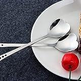 LinZX Cuchara de Postre de Acero Inoxidable en Forma de café con el corazón azúcar en Polvo con una Cuchara de Madera Cuchara de Miel y Yogur Regalo a casa de cocinar