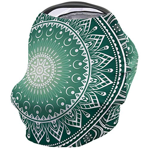 Find Discount Nursing Breastfeeding Cover Car Seat Canopy for Baby Classic Mandala Green Pattern Ult...