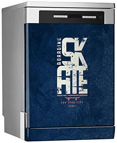 Megadecor vinylstickers voor vaatwasser, afmetingen: standaardgrootte 67 cm x 76 cm, skate-logo op blauwe betonnen vloer