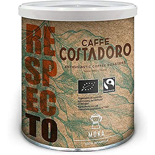 CAFFE  COSTADORO Respecto, 00% Arabica, Bio E Fairtrade Per Moka - Lattina Da 250G, Caffè