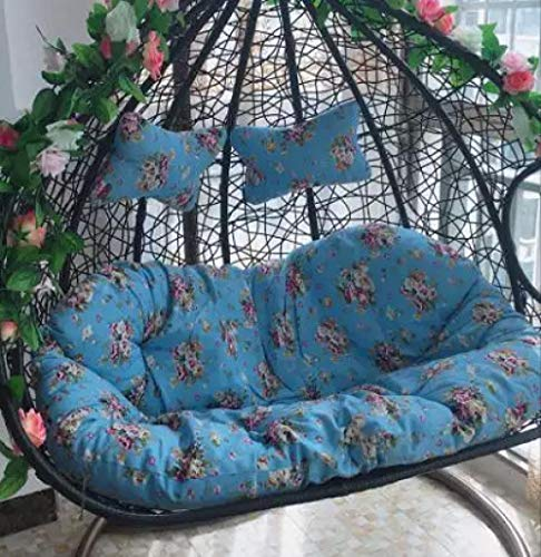 Queen-home Chair Pads Seat Cushions Double Cradle Cushion Rattan Chair Hanging Basket Swing Washing Indoor Outdoor Rocking Chair Sofa Blue Floral for Kitchen Dining Garden Chair Cushion Seat Pads