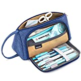 EASTHILL Large Capacity Pencil Case Multi-Slot Pen Bag Pouch Holder for Middle High School Office College Girl Adult Simple Storage Blue Purple