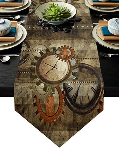 Big buy store Tischläufer, Retro, Steampunk, Baumwoll-Linie, Tischdecken für Abendessen, Küche, Hochzeit, Innen- und Außenbereich, Partys, Uhren und Zahnräder, Tischdekoration, 33 x 228,6 cm