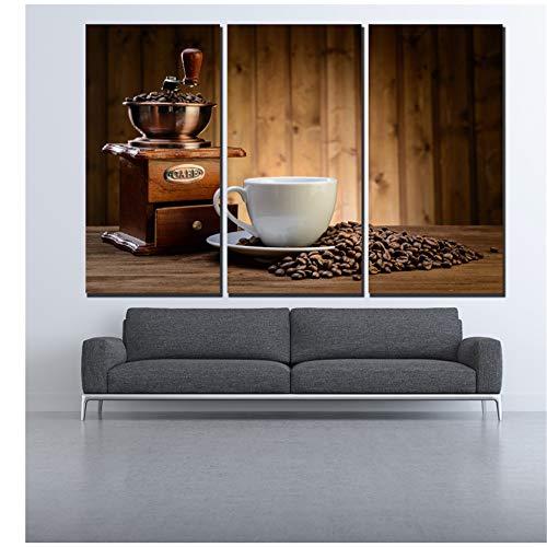 Beeld bedrukte koffiemachine en koffieboon canvas schilderij wanddecoratie foto's voor bar cafe woonkamer 3 schilderijen -40x80cm Geen Frame