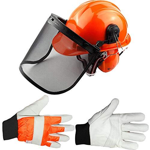 Spares2go Casco de seguridad para motosierra con visera de malla, orejeras, correa para la barbilla y guantes acolchados