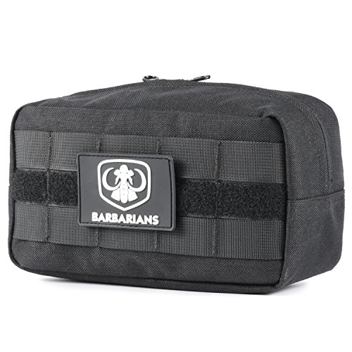 Barbarians Tactical MOLLE Utility Pouch Compact Horizontal, EDC Multi-Purpose Admin Pouch Bag Black