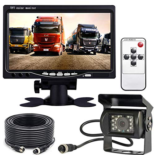 Cámara trasera para vehículo, 4 pines, 12-24 V, 18 LED, IR, visión nocturna, cable de 15 m y pantalla TFT LCD HD de 7 pulgadas