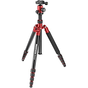 Manfrotto MKELEB5RD-BH Element Traveller Small Aluminum 5-Section Tripod Kit with Ball Head,Red